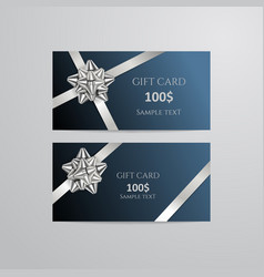 gift cards with silver bow and ribbon vector image
