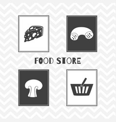 hand drawn silhouettes food store posters vector image vector image