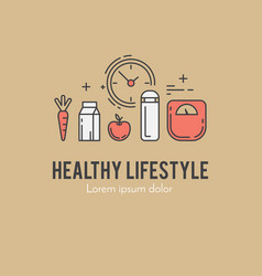 healthy fitness lifestyle lineart concept vector image vector image