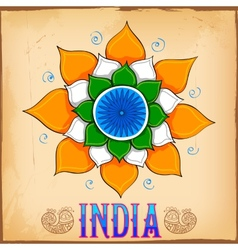 Indian kitsch art style background with lotus vector image vector image