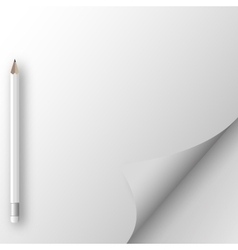 White sheet of paper with pencil vector image vector image
