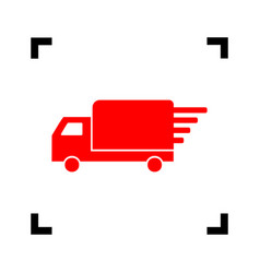 delivery sign red icon vector image