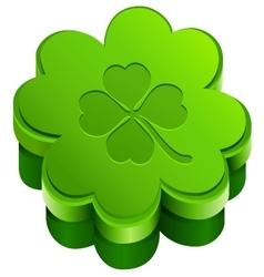 Green closed gift box shape of quatrefoil leaf vector
