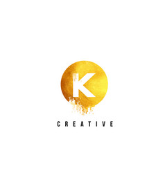 k gold letter logo design with round circular vector image vector image