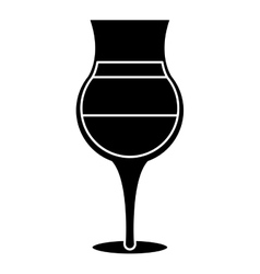 Silhouette summer cocktail glass alcohol vector