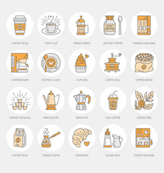 coffee making equipment line icons tools - vector image vector image