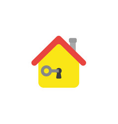Flat design concept of key in house keyhole vector