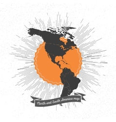 North and South America map with vintage style vector image