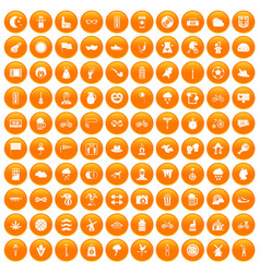 100 bicycle icons set orange vector