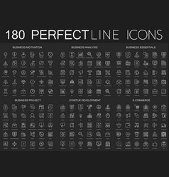 180 modern thin line icons on dark black vector