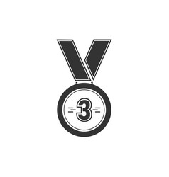 3 winner bronze medal award icon flat vector image