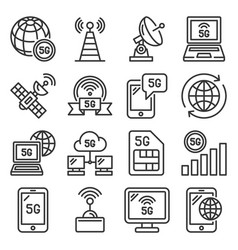 5g generation mobile communication icons set line vector