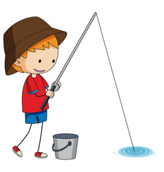 a doodle fisherman on white background vector image