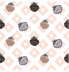 abstract strawberries pink seamless pattern vector image