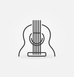 Acoustic guitar icon in thin line style vector