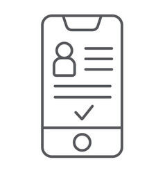 Add friend on smartphone thin line icon phone vector