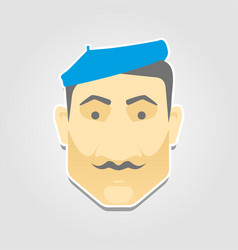 An italian man in a beret in flat style vector