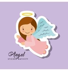 Angel sticker nativity vector