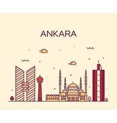 Ankara skyline linear style vector