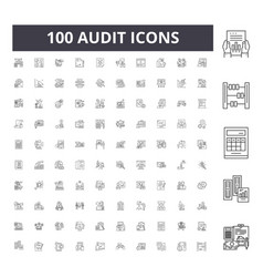 Audit line icons signs set outline vector