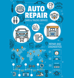 Auto repair car service spare parts infographics vector