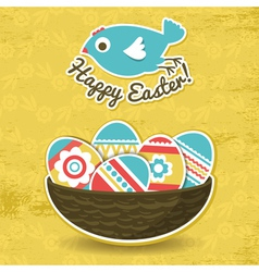 Background with easter eggs and one bird vector