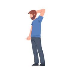 Bearded man standing and scratching his head vector