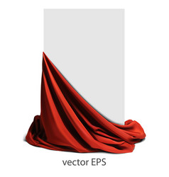 Beautifully draped red silk place for your text vector