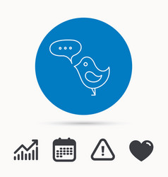 Bird with speech bubble icon short messages vector