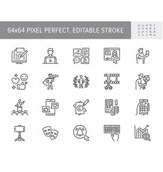 blogger line icons included vector image