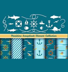 boys nautical scrapbook elements vector image