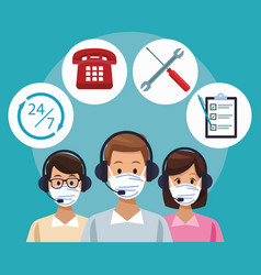Call center support workers wearing medical mask vector