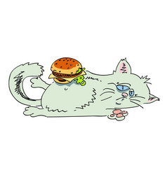 Cartoon image of fat cat vector