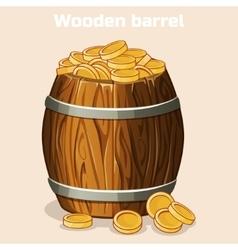 cartoon wooden barrel full gold coins game vector image