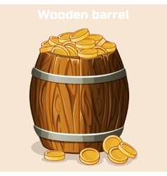 Cartoon wooden barrel full of gold coins the game vector image