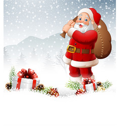 christmas background with santa carrying bag vector image