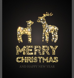 christmas card with magic deer and black vector image