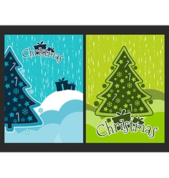 Christmas poster with a christmas tree and ornamen vector