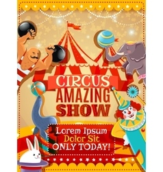 Circus performance announcement vintage poster vector