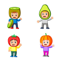 collection of the cute boys using fruits vector image