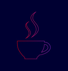 cup of coffee sign line icon with vector image