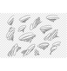 Curly black scrawls set vector