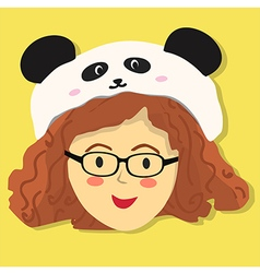 Curly Glasses Girl with Panda Hat vector image