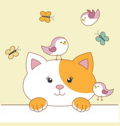Cute cartoon cat with birds and butterflies vector