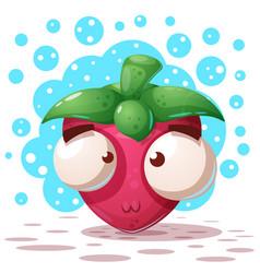 cute crazy strawberry - cartoon vector image