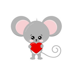 Cute mouse with heart in paw isolated on white vector