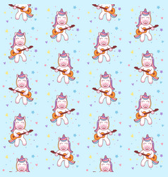 cute unicorn playing guitar seamless pattern vector image