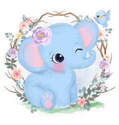 Cute watercolor baelephant vector