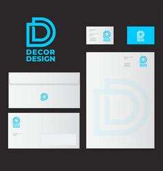 Dd logo identity decor design mock up vector
