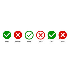 Dos and dont do and don icon wrong and right vector